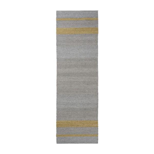 Ručne tkaný koberec Linie Design Norwich Yellow, 80x250cm