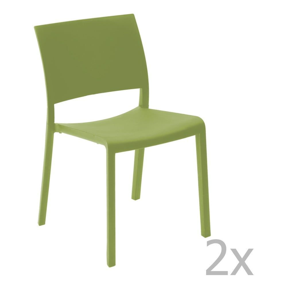 Sada 2 zelených záhradných jedálenských stoličiek Resol Fiona