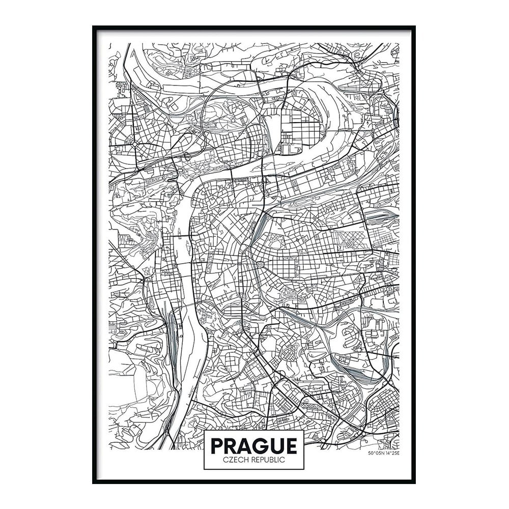 Plagát DecoKing Map Prague, 70 x 50 cm