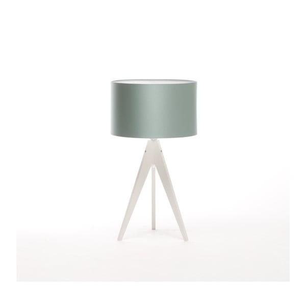 Oceľovomodrá stolová lampa Artist, biela lakovaná breza, Ø 33 cm