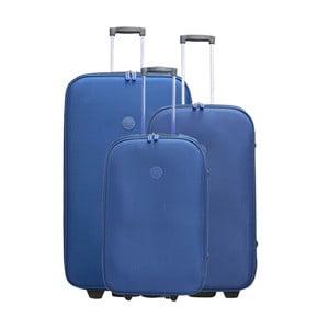 Sada 3 modrých cestovných kufrov na kolieskach Travel World Let's Go