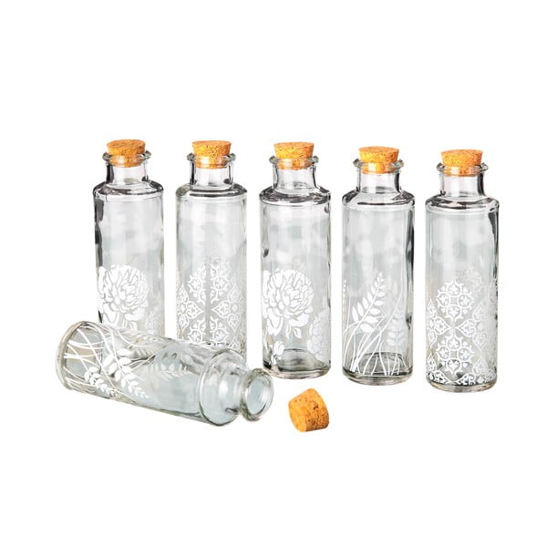 Sada 6 sklenených fľaštičiek Unimasa Corcho, 175ml