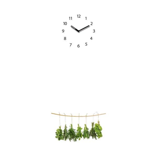 Magnetická tabuľa s hodinami Hanging Herbs, 30 x 80 cm