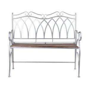Svetlosivá kovová záhradná lavica s dreveným sedadlom Ewax Wood