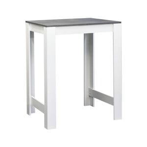 Biely jedálenský stôl s doskou v dekore betónu Symbiosis Sulens, šírka 70 cm