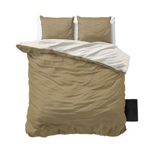Béžovo-biele obliečky z mikroperkálu na dvojlôžko Sleeptime Twin Face, 200×200cm