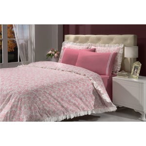 Sada obliečok a prestieradiel In Love Bouquet Pink, 160x220 cm