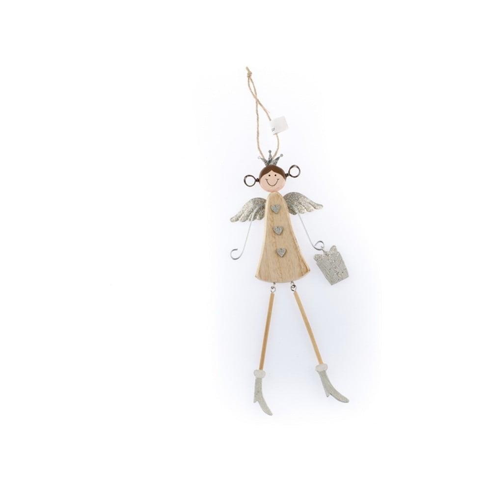 Drevená závesná dekorácia v tvare anjela Dakls Angelina