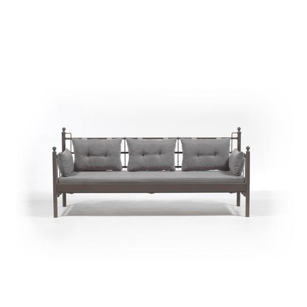 Sivá trojmiestna vonkajšia sedačka s hnedou konštrukciou Lalas DKS, 96 × 209 cm