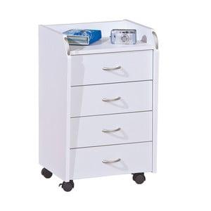 Biela pojazdná komoda s 4 zásuvkami Evergreen Hous Sofia