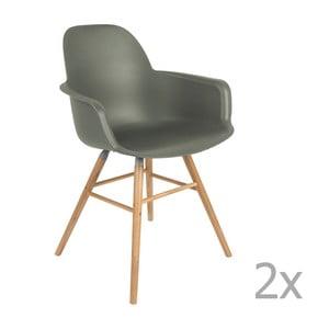 Sada 2 zelených židlí s opěrkami Zuiver Albert Kuip