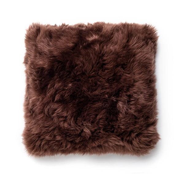 Hnedý vankúš z ovčej vlny Royal Dream Sheepskin, 30×30cm