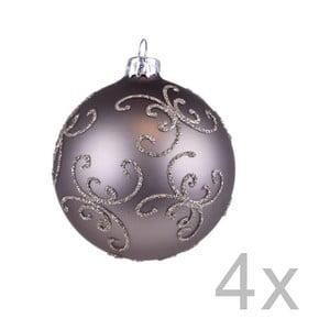 Sada 4 hnedých závesných vianočných gulí na stromček Ego Dekor Lebro