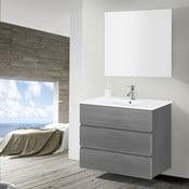 Kúpeľňová skrinka s umývadlom a zrkadlom Nayade, odtieň sivej, 90 cm