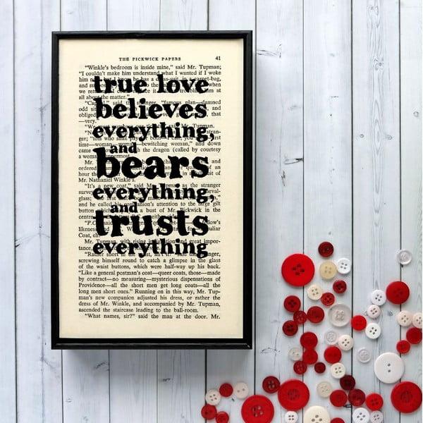Plagát v drevenom ráme Dickens True Love