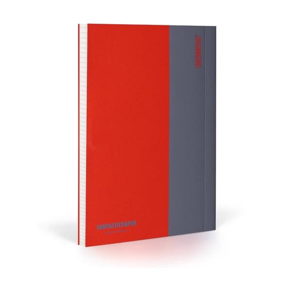 Zápisník FANTASTICPAPER XL Cherry/Grey, štvorčekový