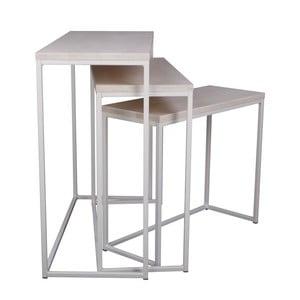 Sada 3 bielych konzolových stolíkov Nørdifra Giewont