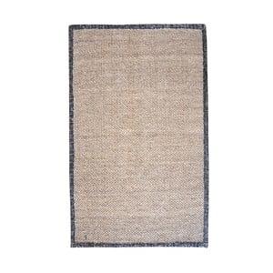 Konopný koberec s koženým lemom Brazilia Dark, 120x180 cm