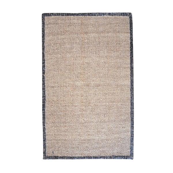 Konopný koberec s koženým lemom Brazilia Dark, 160x230 cm