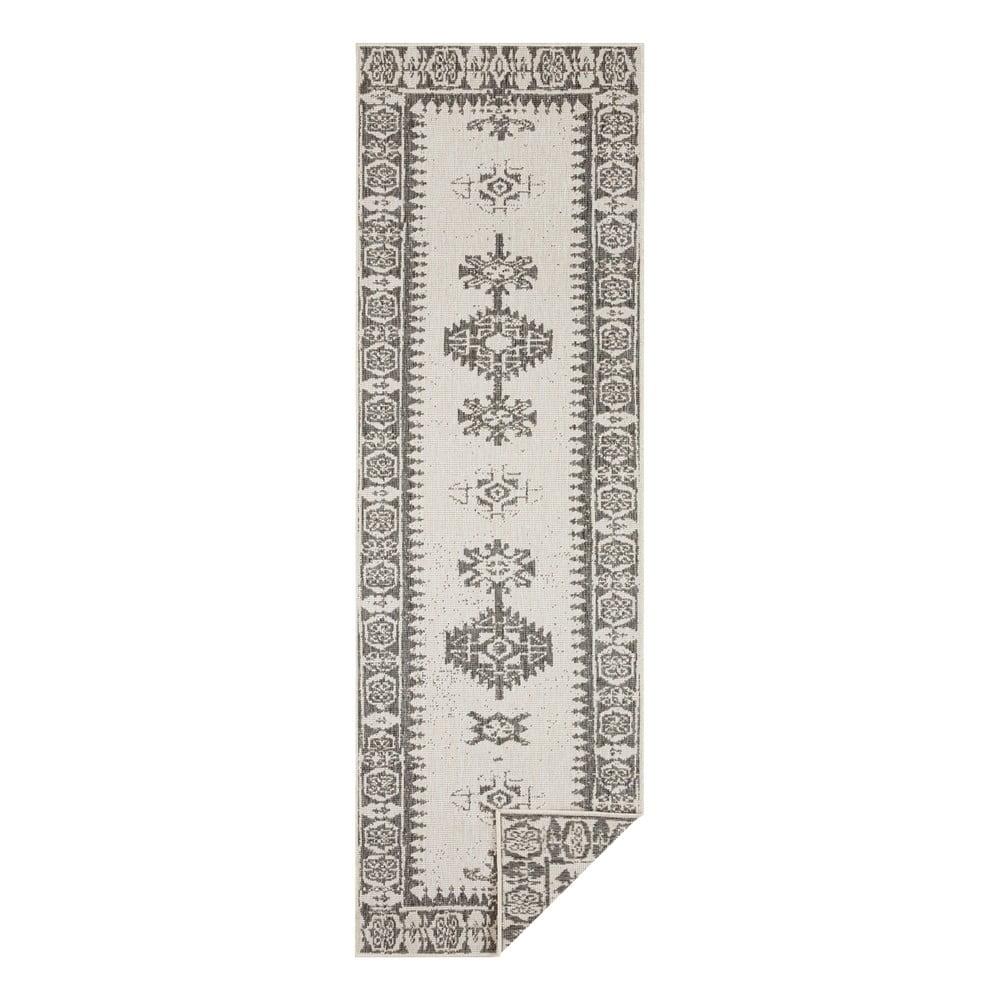 Sivo-krémový vonkajší koberec Bougari Duque, 80 x 350 cm