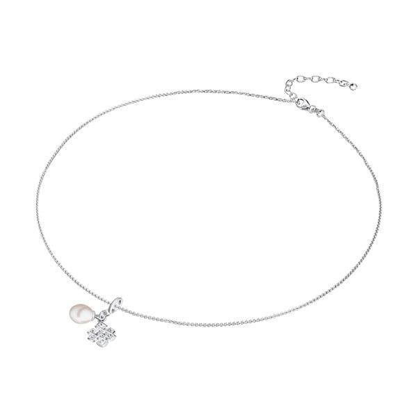 Strieborný náhrdelník s príveskom a perlou Chakra Pearls Done, 42 cm