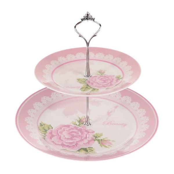 Dvojposchodový stojan na tortičky Pink Roses