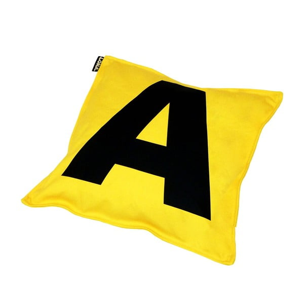 Vankúš Lona Letter 40x40 cm, žltý