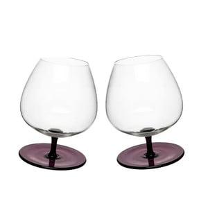 Sada 2 fialových hojdajúcich sa pohárov na brandy Sagaform