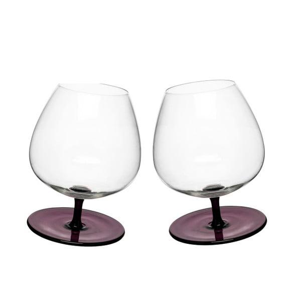 Sada 2 hojdajúcich sa pohárov na brandy Sagaform, fialová