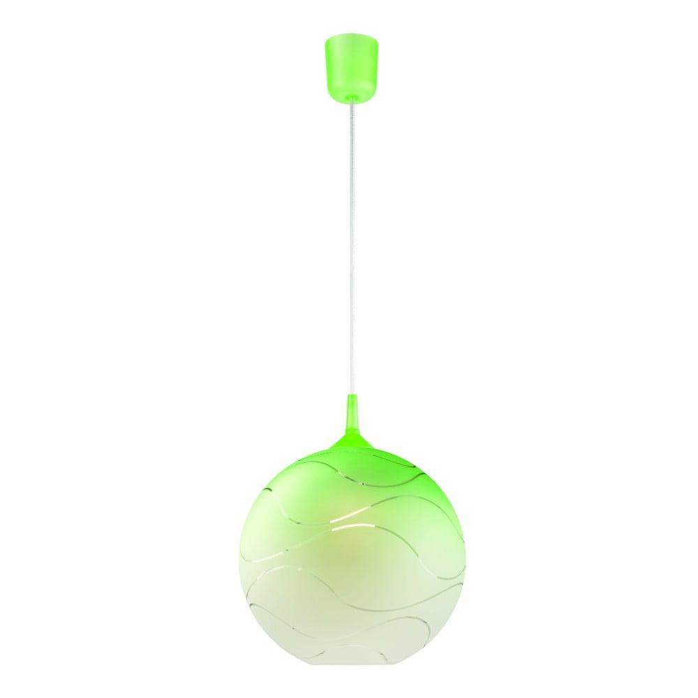 Zelené guľaté závesné svietidlo Lamkur Waves