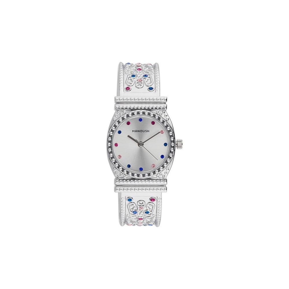 Dámske hodinky striebornej farby s kryštálmi Manoush Afrodité  42334499233