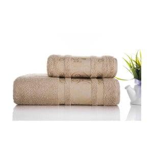 Sada uteráka a osušky Carmen Light Brown, 50x90 a 90x150 cm
