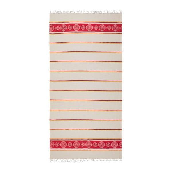 Červeno-béžová hammam osuška Deco Bianca Loincloth Ryem Red, 80x170cm