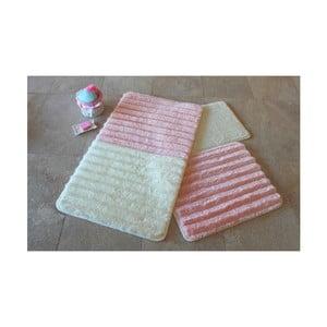 Sada 3 bielo-ružových predložiek do kúpeľne Alessia