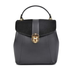 Čierny kožený batoh Isabella Rhea Milesso