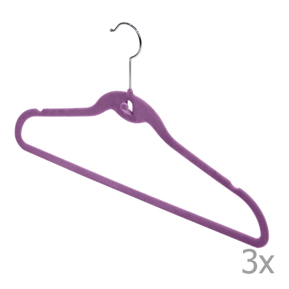 Sada 3 fialových vešiakov Domopak Velvet Hangers
