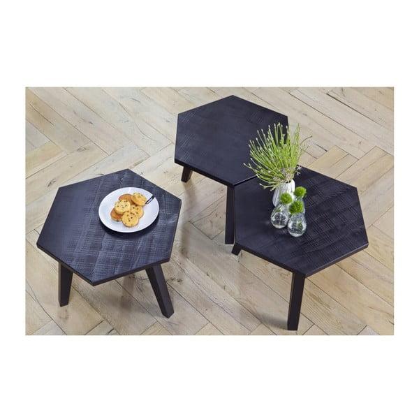 Čierny drevený odkladací stolík De Eekhoorn Hex