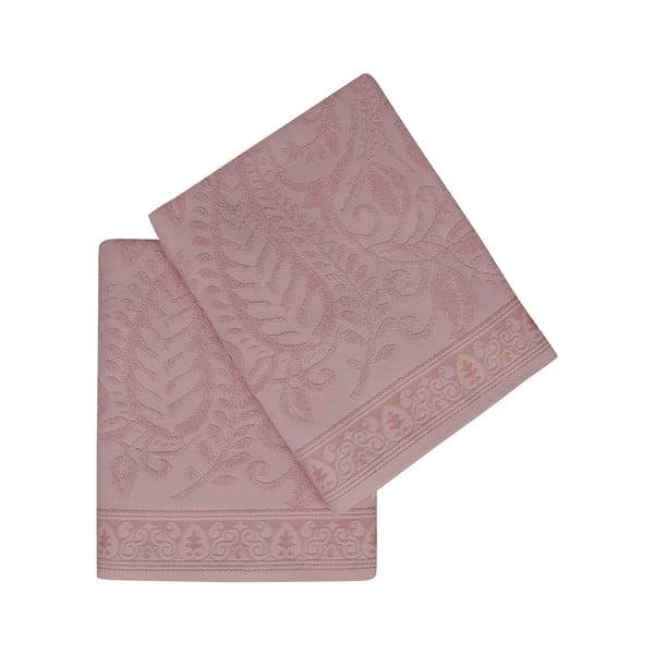 Sada 2 ružových bavlnených osušiek Noktali Sal, 90×150cm