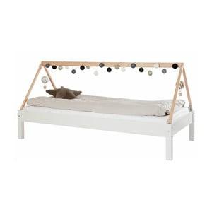 Biela detská posteľ s rámom pre striešku z bukového dreva Manis-h Ydun, 90 x 200 cm