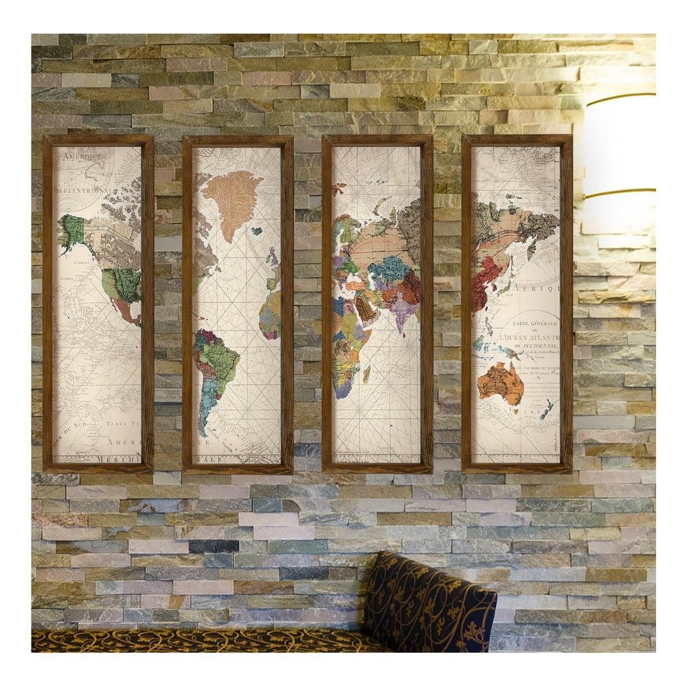 Dekoratívny viacdielny obraz World, 19 × 70 cm