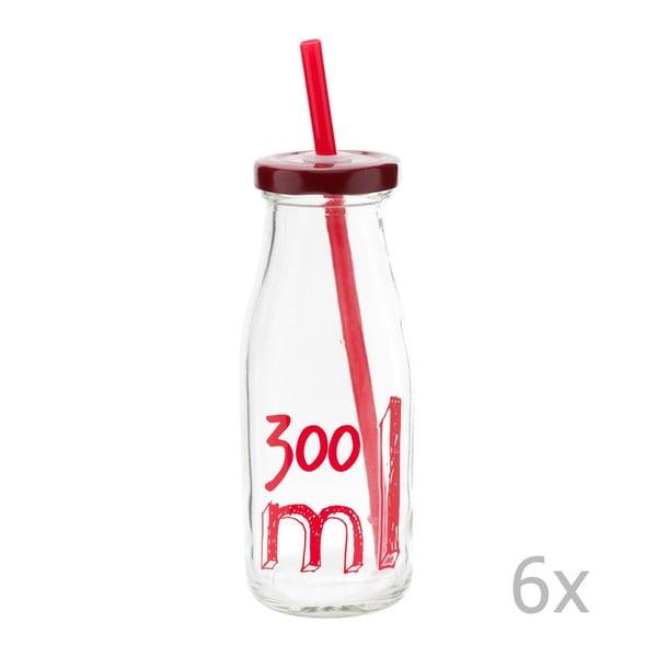 Sada 6 fľaší s viečkom a slamkou 300 ml