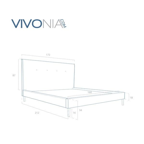 Pastelovozelená posteľ VIVONITA Kent 160x200cm, prírodné nohy
