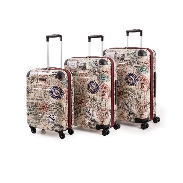 Set 3 cestovných kufrov Lois Trolley Negro