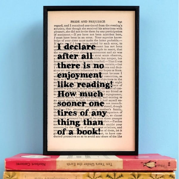 Plagát v drevenom ráme Pride and Prejudice Reading