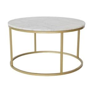 Mramorový odkladací stolík s konštrukciou vo farbe mosadze RGE Accent, ⌀ 85 cm