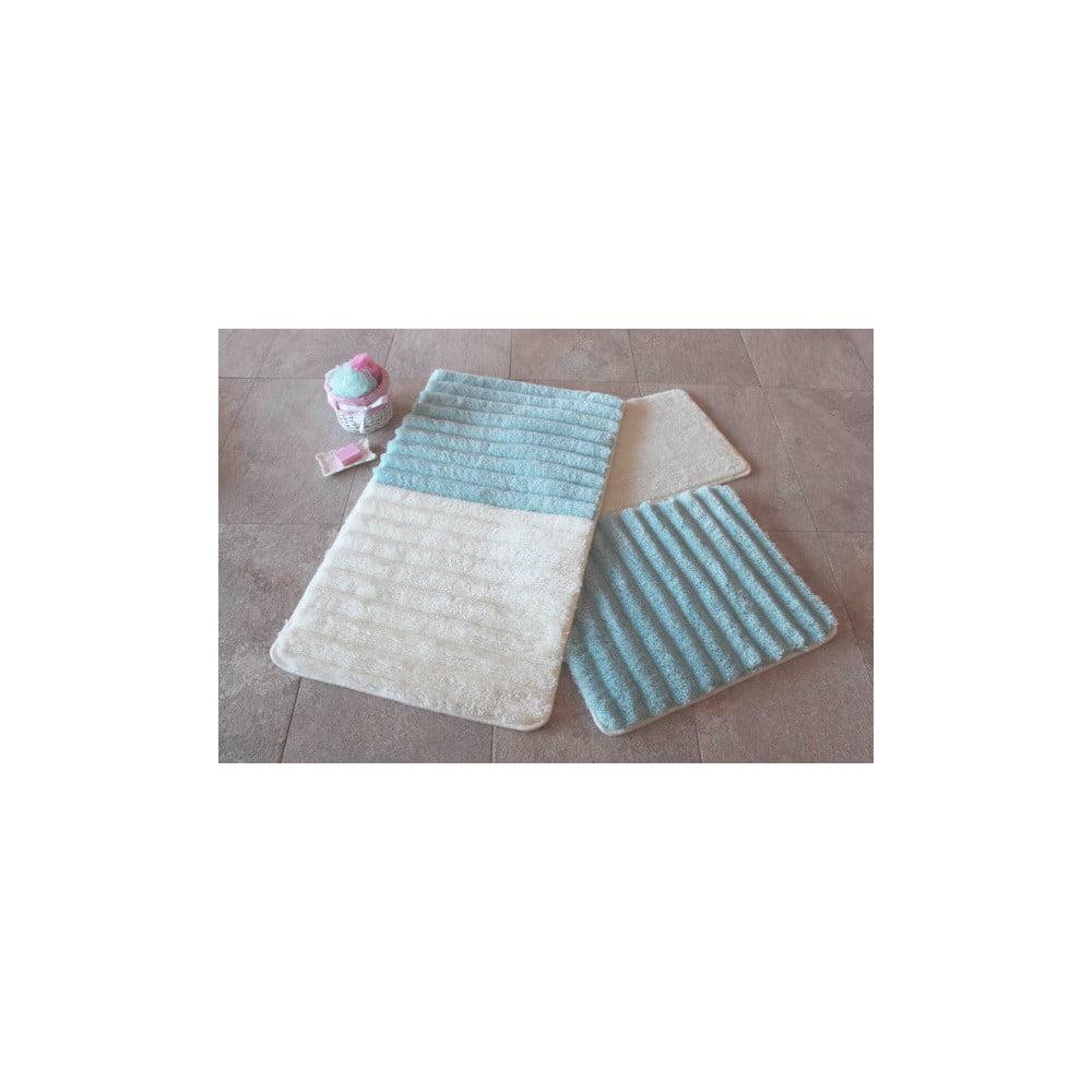 Sada 3 modro-bielych predložiek do kúpeľne Confetti Bathmats