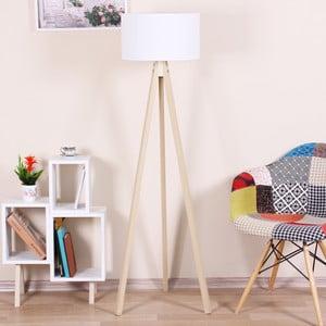 Voľne stojacia lampa s bielym tienidlom Kate Louise Celina