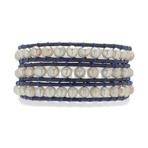Tmavomodrý kožený náramok s perlami Nova Pearls Copenhagen Néreus