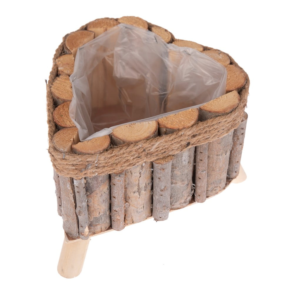 Drevený truhlík v tvare srdca na nožičkách Dakls