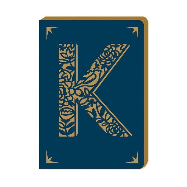 Linajkovaný zápisník A6 s monogramom Portico Designs K, 160 stránok